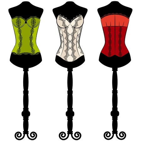 corsage: Vintage corset with beautiful ornament on the background. Vector set Illustration
