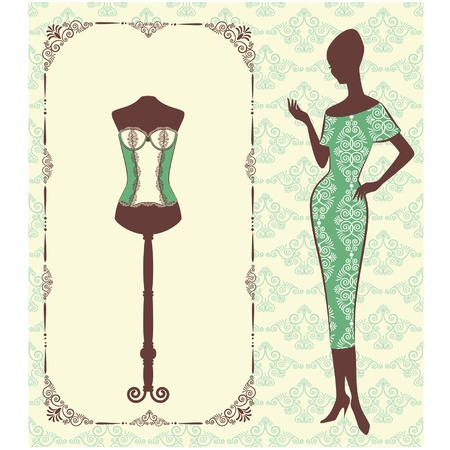 cowards: Vintage corset with beautiful ornament on the background. Vector