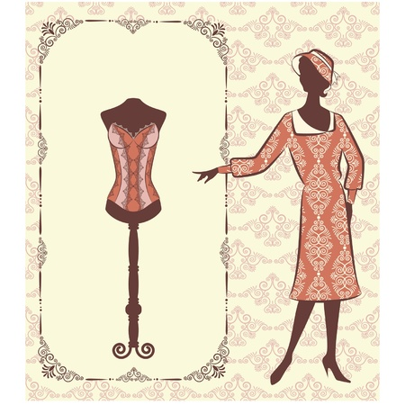 dame: Vintage corset with beautiful ornament on the background. Vector