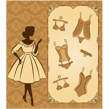 corset: Vintage corset with beautiful ornament on the background. Vector
