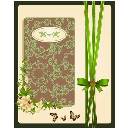 Vintage background with lace ornaments and flowers. Vector Vector