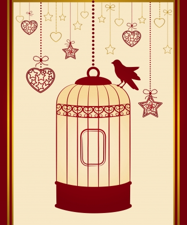 Vintage background with ornamental birdcages and bird photo