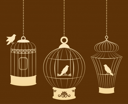 Vintage ornamental birdcages and birds photo