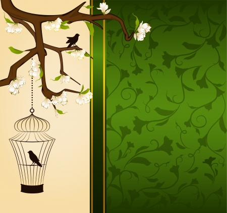 Vintage background with birdcage and birds photo