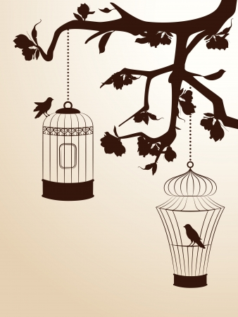 jail bird: Vintage background with birdcages and birds Stock Photo