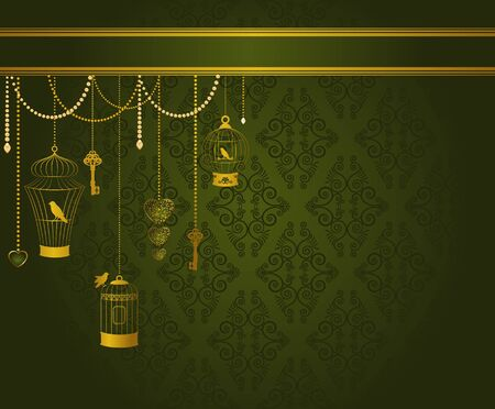 Vintage background with ornamental birdcages and birds photo