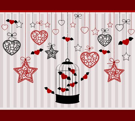 Vintage background with ornamental birdcages and red hearts photo