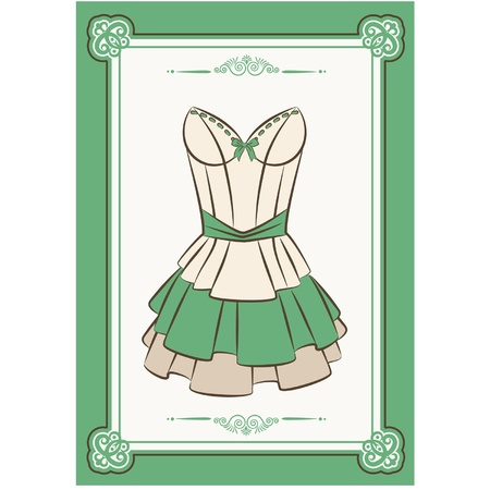 green dress: Vintage background with lace ornaments
