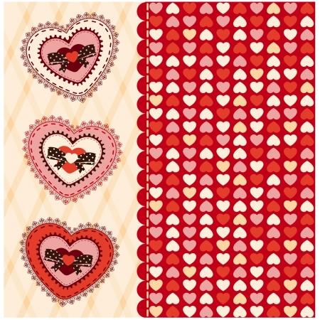Fondo de la vendimia con adornos de encaje para el Día de San Valentín s