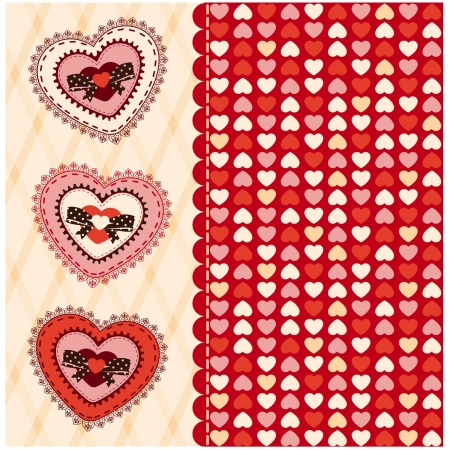 valentine's: Vintage background with lace ornaments for Valentine s Day