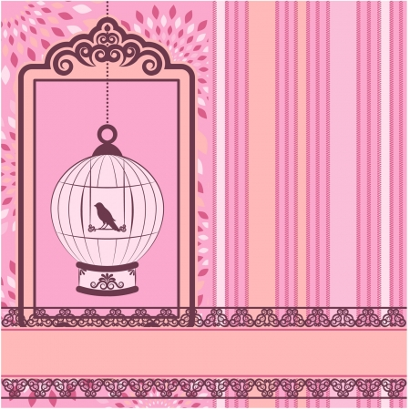 Vintage background with ornamental birdcages and bird Stock Vector - 14572664