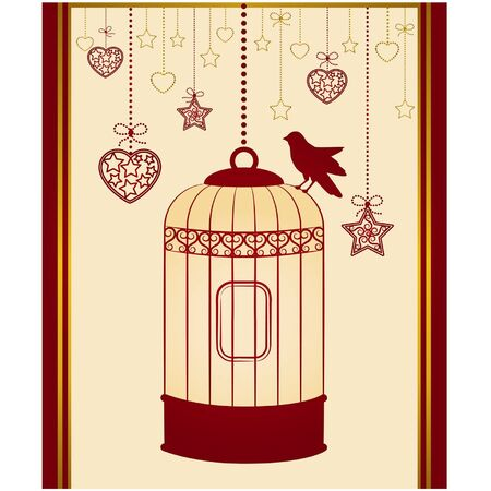 canary bird: Vintage background with ornamental birdcages and bird Illustration