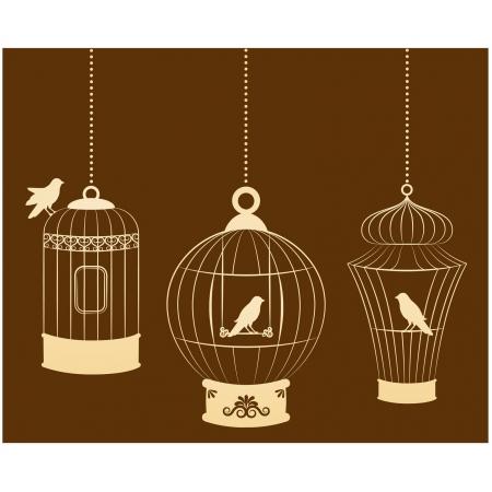 kanarienvogel: Weinlese ornamental und V�gel Vogelk�fige