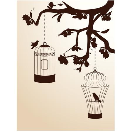 De fondo de la vendimia con jaulas de pájaros y aves Ilustración de vector