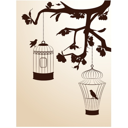 Vintage background with birdcages and birds Illustration