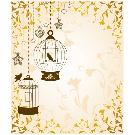 cage: Vintage background with birdcages and birds Illustration