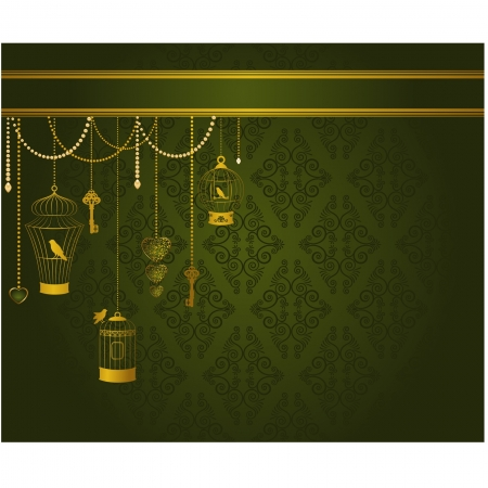 Vintage background with ornamental birdcages and birds Vector
