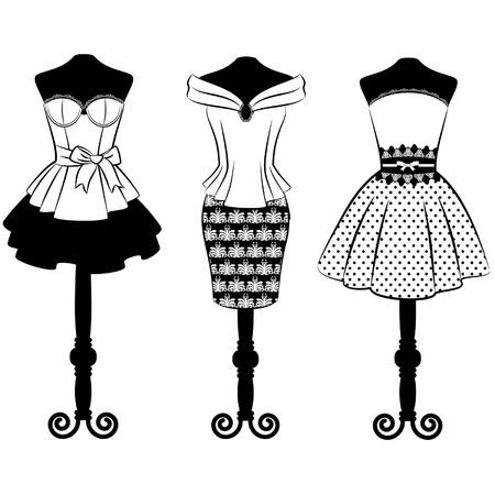 Vintage dress with lace ornaments  Set Illustration
