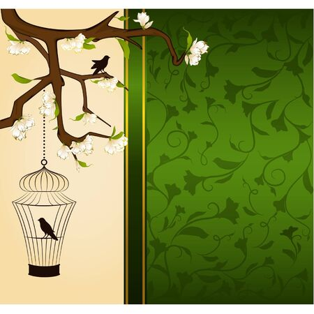 Vintage background with birdcage and birds Vector