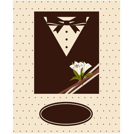 Vintage background with tuxedo shirt and bowtie close up Vector