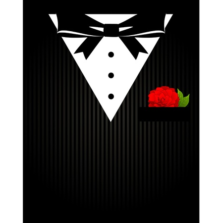 formal: Vintage background with tuxedo shirt and bowtie close up
