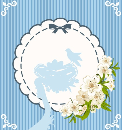 Eggs with lace ornaments and flowers  photo