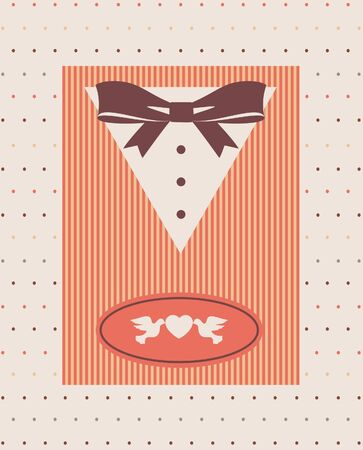 Vintage background with tuxedo shirt and bowtie close up  Stock Photo