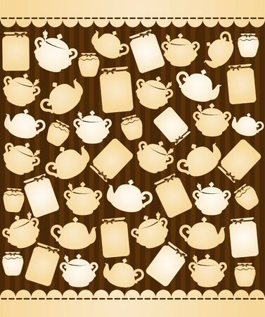 illustration of vintage ceramic tea pots illustration