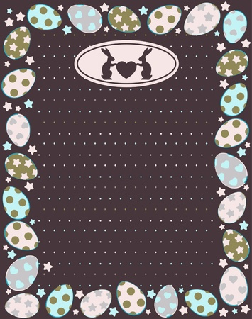 Beautiful easter card with bunny and eggs on lace background  photo