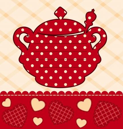 illustration of vintage ceramic tea pot illustration