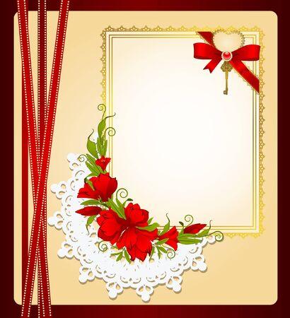 Vintage Hintergrund mit Spitze Ornamente und Blumen