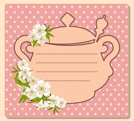 illustration of vintage ceramic tea pot with beautiful flowers Stock Photo