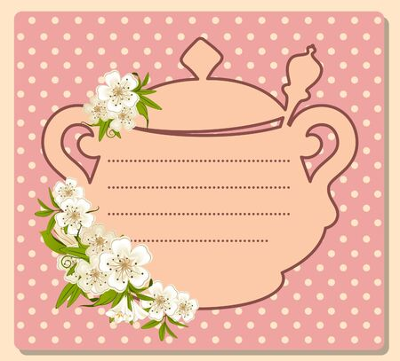 illustration of vintage ceramic tea pot with beautiful flowers illustration