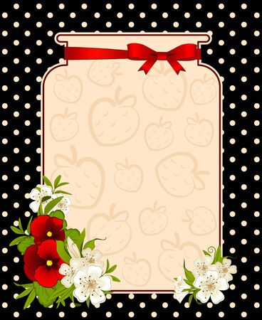 jam jar: illustration of banks with strawberry and flowers