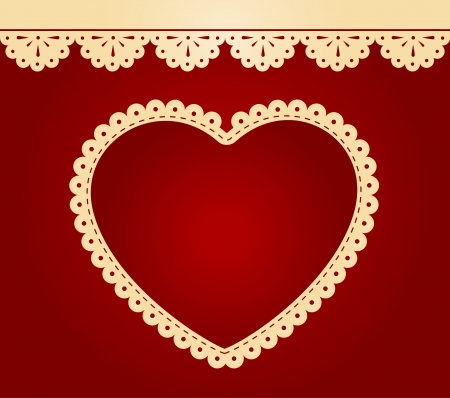 Vintage lace heart with ornaments on background   Stock Photo - 14578301