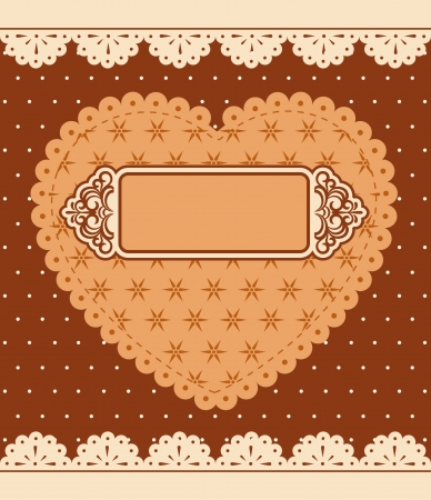 Vintage lace heart with ornaments on background  photo