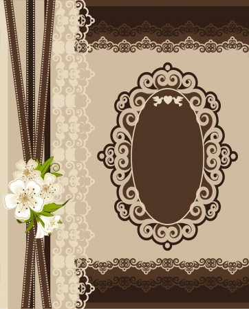 Vintage background with lace ornaments and flowers  photo