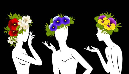 Beautiful silhouettes of girls in hats from flowers on black background photo