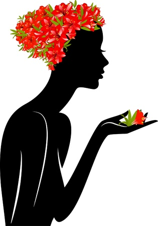 Beautiful silhouette of girl in hat from flowers on white background  photo