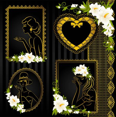 Beautiful silhouettes of women on vintage background with flowers  photo