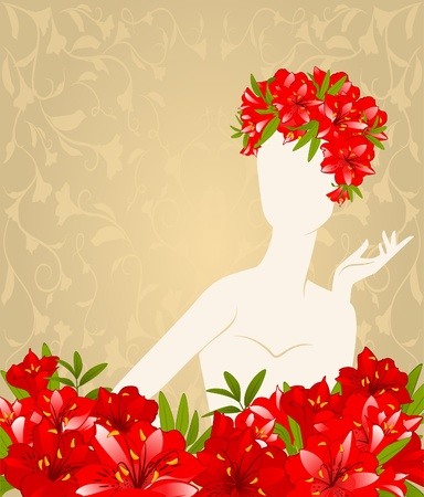 Beautiful silhouette of girl on tapestry background with flowers  photo