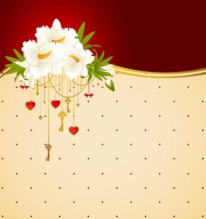 Vintage background with flowers and ornaments