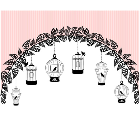 canary: Vintage background with ornamental birdcages and birds  Illustration