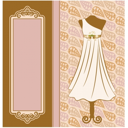 Vintage dress with lace ornaments  Vector