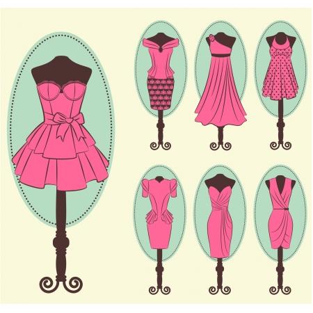 ladenkast: Vintage jurk met kant ornamenten Stock Illustratie