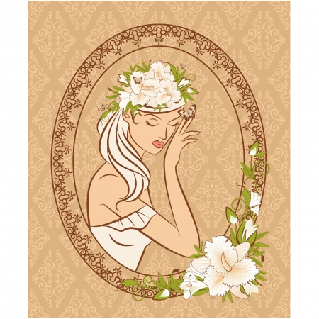 Beautiful silhouette of girl with flowers on tapestry background  Vector