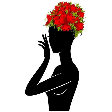 Belle silhouette de la jeune fille dans le chapeau de fleurs sur fond blanc