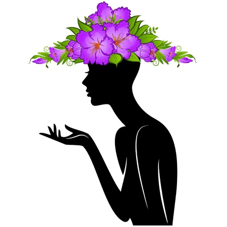 Beautiful silhouette of girl in hat from flowers on white background Stock Vector - 14907688