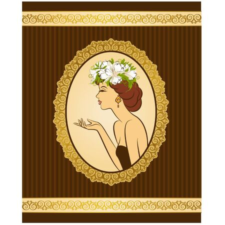 Beautiful silhouette of woman on vintage background with flowers  Ilustracja