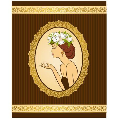 Schöne Silhouette der Frau auf Vintage-Hintergrund mit Blumen